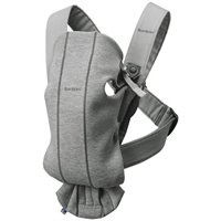 Marsupiu anatomic BabyBjorn Mini Light Grey cu pozitii multiple de purtare, 3D Jersey